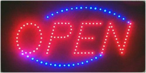 """Wuerfel24 - Letrero luminoso LED grande con mensaje """"Open"""""""