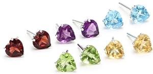 Set of 5 Sterling Silver Blue Topaz, Amethyst, Peridot, Garnet and Citrine Heart Stud Earrings