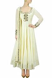 SK Fashion Women's White Georgette Anarkali Unstitched Salwar Suit Dress Material (Dress_189_FreeSize_White)