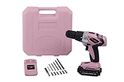 Pink Power PP181LI 18V Cordless Lithium-Ion Drill Kit for Women- Tool Case, Drill Set, Battery and Charger