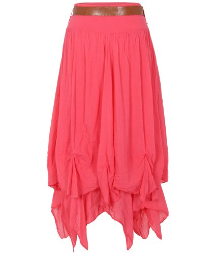 KRISP Womens Belted Top Boho Gypsy Tiered Parachute Hitch Hem Long Maxi Skirt Festival (Coral,M)