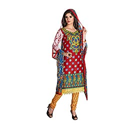 Rajnandini Women's Maroon&Yellow pure cotton Printed Unstitched salwar suit Dress Material with Naznin Duppta (Free Size)