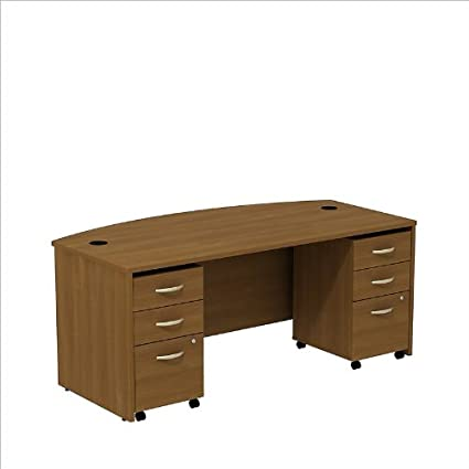 BBF Series C Bowfront Shell Desk with 2 3 Drawer Mobile Pedestals in Warm Oak