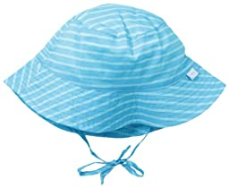 i play. Unisex Baby Bucket Sun Protection Hat, Aqua/Light Aqua Stripe, 0-6 Months