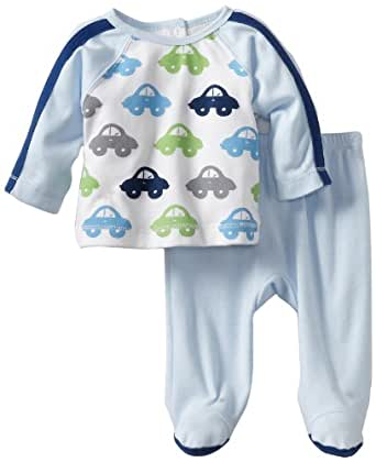 ABSORBA Baby-Boys Newborn Two Piece Footed Pant Set, Blue, 0-3 Months