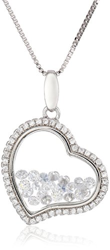 Sterling Silver Floating Cubic Zirconia Heart Pendant Necklace, 18""