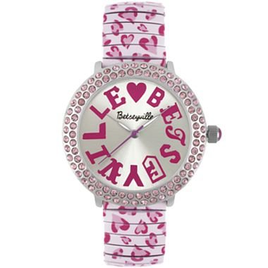Betseyville® Bright Ideas Pink Crystal-Leopard Print Accent Watch