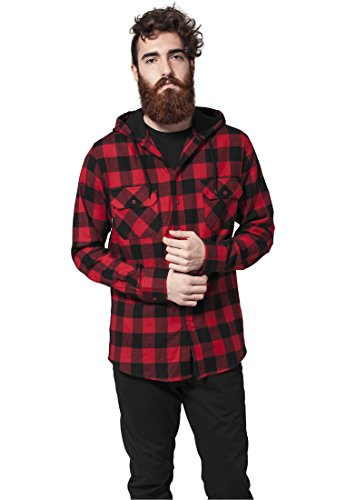 Urban Classics TB415 Hooded Checked Flanell Shirt Camicia Quadri Flanella Uomo Regular Fit (Black/Red, XL)