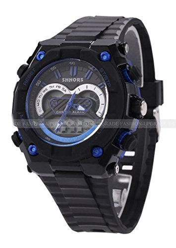 Shhors Waterproof Digital Lcd Alarm Date Mens Military Sport Rubber Watch-Blue