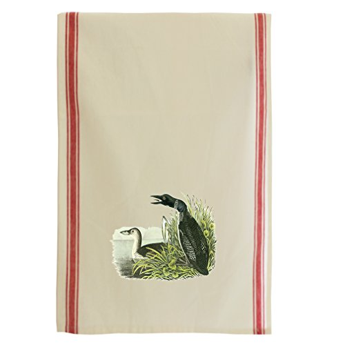 Common Loon James Audubon Birds Retro Stripe Dish Kitchen Towel Red