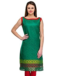 Awesome Fab Green Color Brasso Fabric Women's Straight Kurti