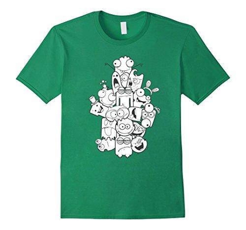 [Men's Weird Pile Of Monsters Funny Halloween Costume T-Shirt Tee Medium Kelly Green] (Funny Weird Halloween Costumes)