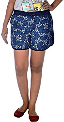 Klorophyl Women's Cotton Shorts (KB1601_M, Blue, M)