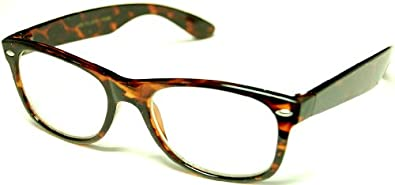 Eyeglasses Wayfarel black, tortoise brown clear lens 2pc