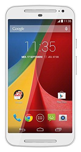 Motorola Moto G (2ème Génération) Smartphone débloqué 3G+ (Ecran: 5 pouces – 8 Go – Android 4.4 KitKat) Blanc