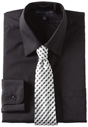 Giorgio Brutini Men's Dress Shirt and Tie Box Gift Set, Black, 34x35/17-17.5
