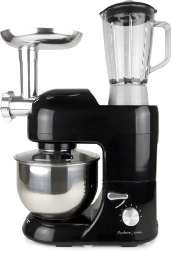 Andrew James Multifunctional Black 5.2 Food Mixer With Meat Grinder And 1.5 Litre Blender Attachments by Andrew James