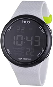 Breo Men's Digital Watch with White Dial Digital Display and White Plastic or PU Strap B-TI-TRK8
