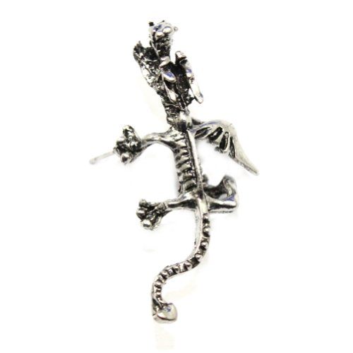 Zehui New Cool Silver Gothic Coming Rock Punk Dragon Ear Cuff Stud Piercing Earring