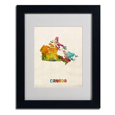 Trademark Fine Art Canada Watercolor Map Artwork by Michael Tompsett, Black Frame
