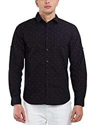 Highlander Men's Casual Shirt (13110001479775_HLSH008992_Medium_Black)