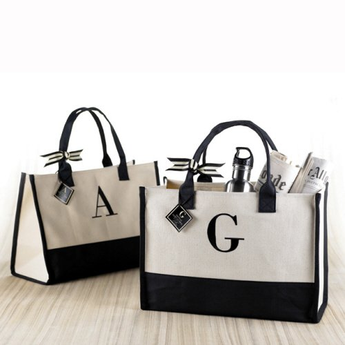 Mud Pie D-Initial Canvas Tote front-87931