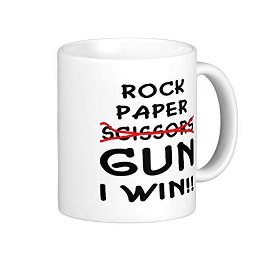 Rock Paper Scissors Gun I Win - 11-oz Shooter Hunting Buck NRA Coffee Mug Cup Made of White Ceramic with Large Handle is Perfect Gift Idea for your Rifle or Pistol Loving Dad Grandpa Son Fathers Day (Nra Cup compare prices)