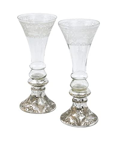 Set of 2 Mercury Glass Champagne Vases