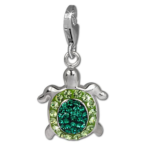 SilberDream Glitter Charm turtle with green and light green Czech crystals 925 Sterling Silver Charms Pendant with Lobster Clasp for Charms Bracelet, Necklace or Earring GSC536G