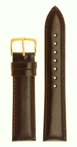 Men's Genuine Italian Leather Watchband - Color Brown Size: 16mm Watch Strap