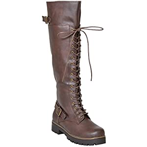 Womens Knee High Boots Over The Knee Lace Up Combat Boots Brown SZ 8