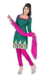 Shree Vardhman Synthetics Dark Green Semi Cotton Top Straight Unstiched Salwar Suit Dress Material