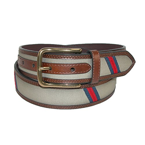Tommy-Hilfiger-Mens-Leather-Canvas-Ribbon-Stripe-Belt-Khaki
