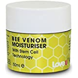 "Bee Venom Moisturiser ""NATURES NATURAL BOTOX"" is beauty's secret to younger looking skin, used in anti-ageing products and most products that help your skin look younger. What happens is the Bee Venom 'TRICKS' the skin into thinking it's been stung and as a result attracts blood flow to the area it's been applied to. so as a result your muscles relax and skin is taut.SO prepare for skin that is REVITALISED and feels NEW."