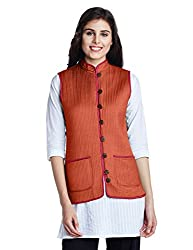 Jaypore Women's Art Silk Quilted Jacket (JPJAPJ000094412-XL_Orange and Pink)