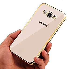 Johra Electroplated Edge Clear Soft Transparent Back Case Cover for Samsung Galaxy On5 Pro Back Cover Gold Golden