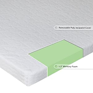 Sleep Master 1.5-Inch Sleeper Sofa Memory Foam Mattress Topper, Full