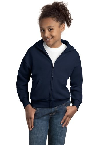 Hanes Youth Comfortblend Full-Zip Hood 7.8 Oz, Youth Md (10-12)-Navy front-590205