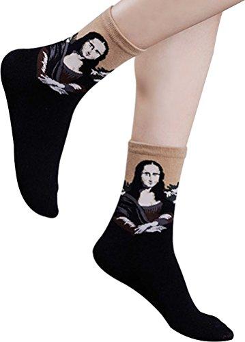 Womens Cartoon Design Art Patterned Socks 1 Pack of 4 Pairs