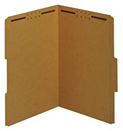 Globe-Weis Fastener Folders, 2/5 Cut, Reinforced Tab, 2 Fasteners, Guide Height, Legal Size, Kraft, 50 Folders Per Box (29880)