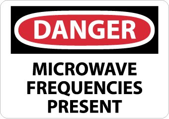 "Nmc D454Pb Osha Sign, Legend ""Danger - Microwave Frequencies Present"", 14"" Length X 10"" Height, Pressure Sensitive Vinyl, Black/Red On White"