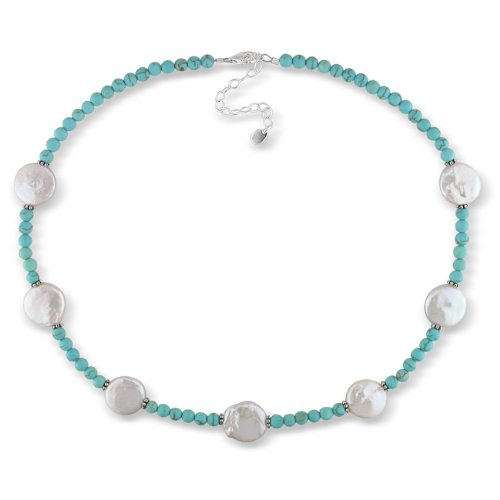 Sterling Silver Round Turquoise Bead Round White Coin Pearl Necklace With Chain (12-15mm)