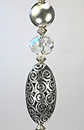 Silver Spiral Swirl & Faceted Crystal Clear Glass Ceiling Fan Pull Chain - Lamp/Light Pull