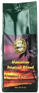 Aloha Island Coffee Hazelnut Organic Hawaiian Coffee Blend, Whole Bean, 8-ounce Packages (Pack of 2)