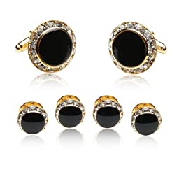 Enamel and CZ Gold-Plated Formal Set by Cuff-Daddy