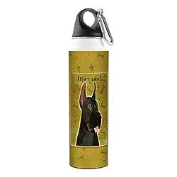 Tree-Free Greetings John W. Golden Artful Traveler Stainless Steel Water Bottle, 18-Ounce, Black Great Dane