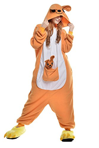 Newcosplay Unisex Orange Kangaroo Adult animal Sleeping Wear Pajamas Kigurumi Onesie Halloween Costume