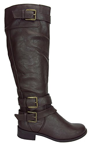 Soda Women Knee High Buckled Horse Motorcycle Riding Military Black Boots Doric Brown 7
