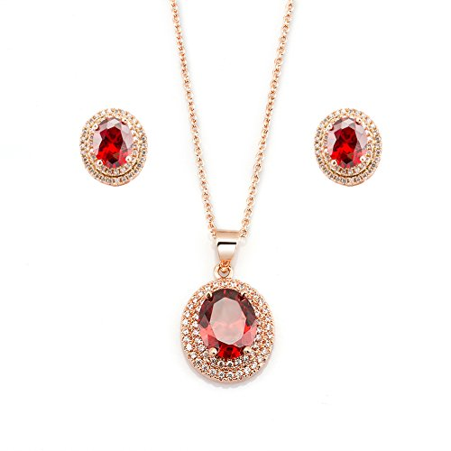 Fashion Plaza Rose Gold Plated Ruby Gemstone Necklace And Earring Set S161