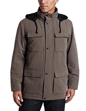 Perry Ellis Portfolio Men's Microfiber Parka, Willow, Large